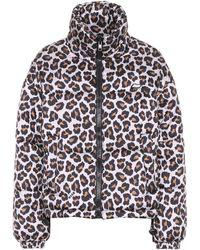 MSGM Leopard-print Puffer Jacket - Natural
