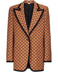 Gucci GG Multicolour Cotton-blend Blazer - Orange