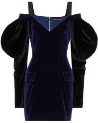 David Koma Minikleid aus Samt - Blau