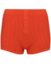 Live The Process Ribbed-knit Shorts - Red