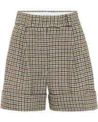 Miu Miu Short ample en laine vierge à carreaux - Multicolore