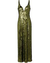 Galvan London Savannah Sequined Midi Dress - Green