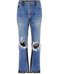 Amiri Jeans flared con pelle - Blu