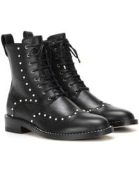bda9beff4 Jimmy Choo Hanah Black Leather Flat Ankle Boots With Pearls in Black ...