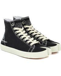 Maison Margiela Hi-top Vandal Tabi Canvas Sneakers Black