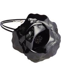 Saint Laurent Choker de piel floral - Negro