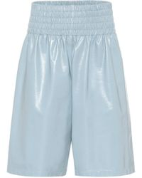 Bottega Veneta High-rise Leather Shorts - Blue