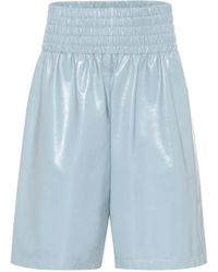 Bottega Veneta High-rise Leather Shorts - Blue