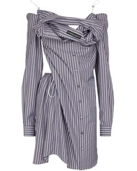 Y. Project Striped Cotton Shirt Dress - Gray