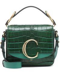 Chloé The C Mini Crocodile Effect Leather Cross Body Bag - Green
