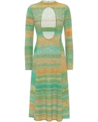 Tibi Vestido de punto fino de rayas - Verde
