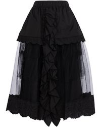 Simone Rocha Cotton And Tulle Midi Skirt - Black