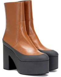 Dries Van Noten Leather Platform Ankle Boots - Brown
