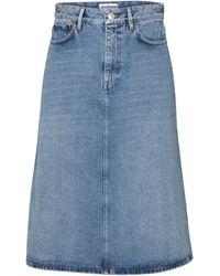 Balenciaga Falda midi de jeans de tiro alto - Azul
