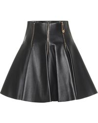 Versace Embellished Leather Miniskirt - Black
