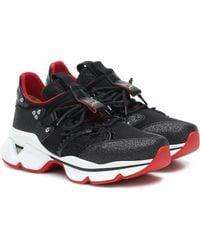 Christian Louboutin Sneakers Red Runner mit Glitter - Schwarz
