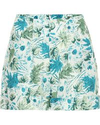 Cult Gaia Shorts Shadi de lino floral - Azul