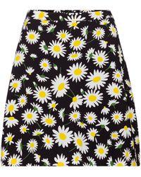 Saint Laurent Mini-jupe à fleurs - Noir