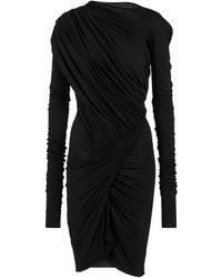 Rick Owens Lilies Draped Midi Dress - Black