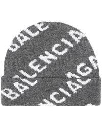 Balenciaga Bonnet intarsia en laine à logo - Gris