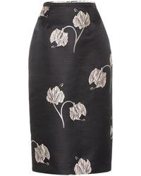 Rochas Oncidium Floral Pencil Skirt - Black