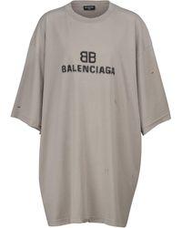 Balenciaga Camiseta de algodón con logo - Gris