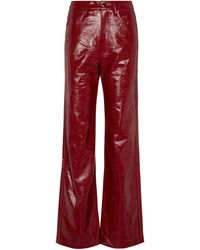 ROTATE BIRGER CHRISTENSEN Rotie Faux-leather Trousers - Red