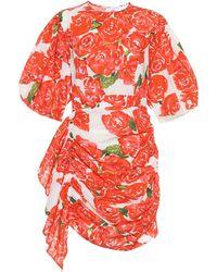 RHODE Pia Floral Cotton Minidress - Red