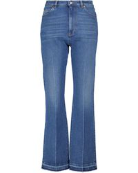 Valentino High-rise Stretch-cotton Jeans - Blue