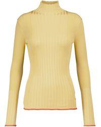 Victoria, Victoria Beckham Jersey de canalé con cuello alto - Amarillo