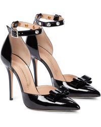 Alessandra Rich Embellished Patent Leather Pumps - Black