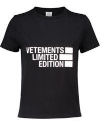 Vetements T-shirt en coton mélangé à logo - Noir
