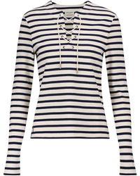Saint Laurent Top en coton à rayures - Blanc