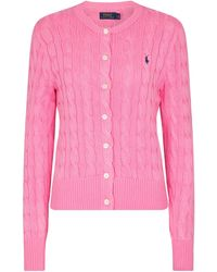 Polo Ralph Lauren Cable-knit Cotton Cardigan - Pink