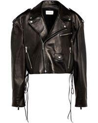 Magda Butrym Cropped Leather Biker Jacket - Black