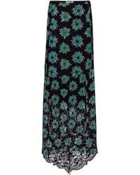 Paco Rabanne Floral Lace Midi Skirt - Black