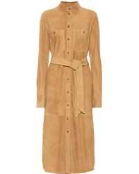 Polo Ralph Lauren Suede Midi Shirt Dress - Brown