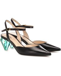 Marc Jacobs The Slingback Leather Court Shoes - Black
