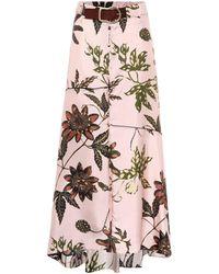 Dorothee Schumacher Floral High-rise Silk-faille Skirt - Pink