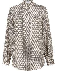 Ferragamo Printed Silk Shirt - White