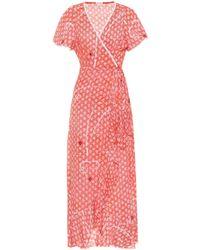 Poupette - Ruffled Diamond-print Wrap Dress - Lyst