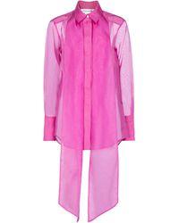 Victoria Beckham Schluppenbluse aus Seidenorganza - Pink