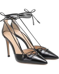 Gianvito Rossi Lace-up Leather Pumps - Black