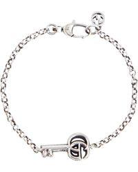 Gucci Pulsera con llave Doble G de plata esterlina - Metálico