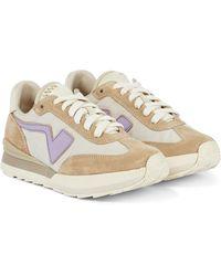 Visvim Fkt Suede-trimmed Sneakers - Natural