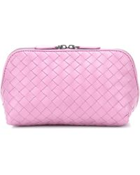 Bottega Veneta Beauty case in pelle intrecciata - Rosa