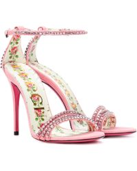 Gucci - Embellished Leather Sandals - Lyst
