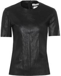 Bottega Veneta T-Shirt aus Leder - Schwarz
