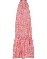 Asceno - Ibiza Printed Silk Halterneck Maxi Dress - Lyst