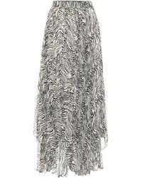 Isabel Marant Alena Zebra-print Silk-blend Midi Skirt - Black